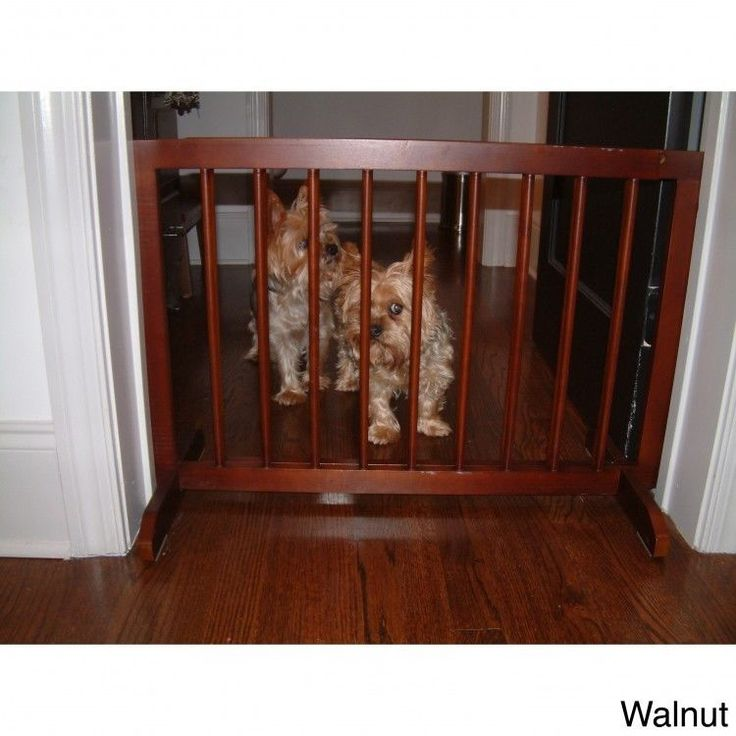 Walnut Wood Gate Free Standing Step Over Small Pet Little Brown Wooden Dog Gate