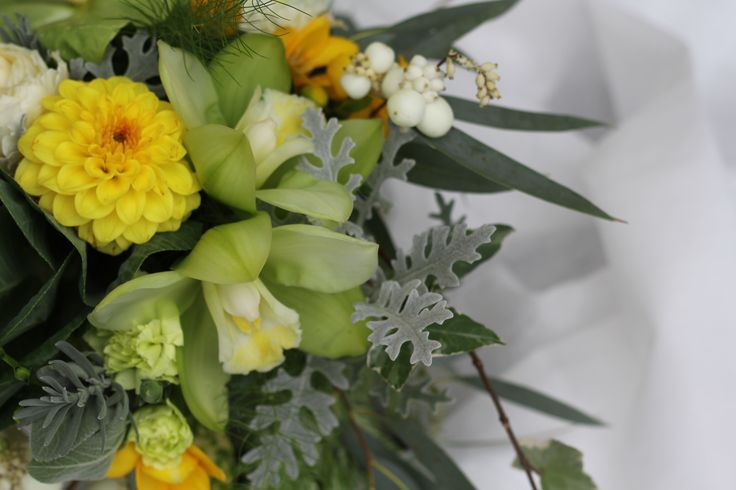 Dahlia, freesias, snowberry and orchids in large bouquet www.wanakaweddingflowers.co.nz/gallery/