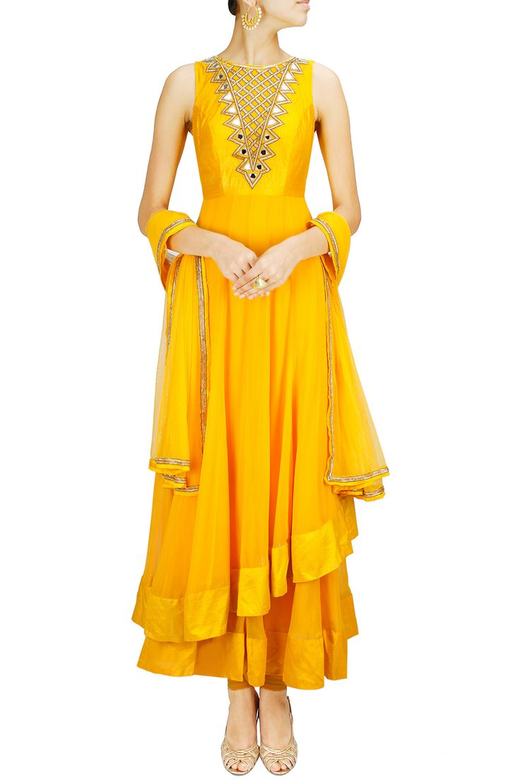 Sunny yellow two-layered mirror work anarkali set BY ARPITA MEHTA. Shop now at: www.perniaspopups... #perniaspopupshop #amazing #beautiful #clothes #style #designer #fashion #stunning #trend #new