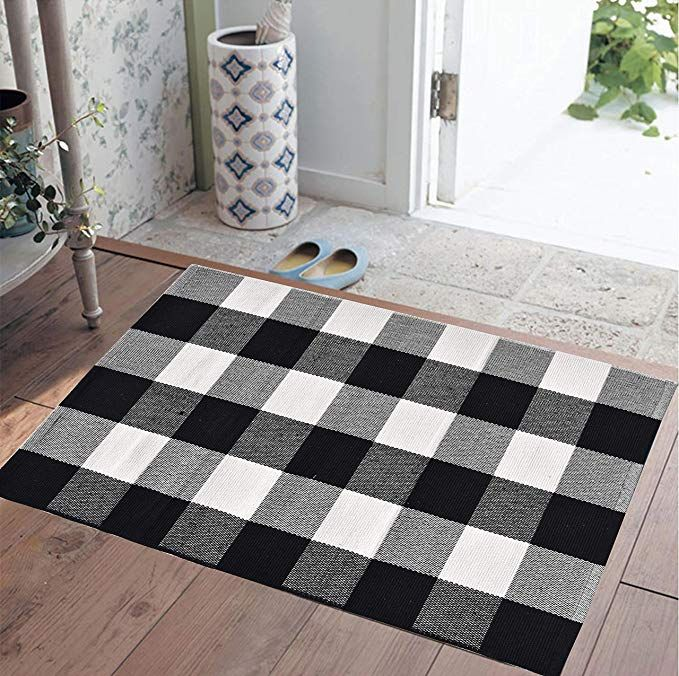Ecoshome Cotton Bath Runner Checkered Plaid Area Rug Door Mat For Entry Way Washable Carpet For Kitchen 24x 35 Black A Plaid Rug Layered Rugs Plaid Area Rug