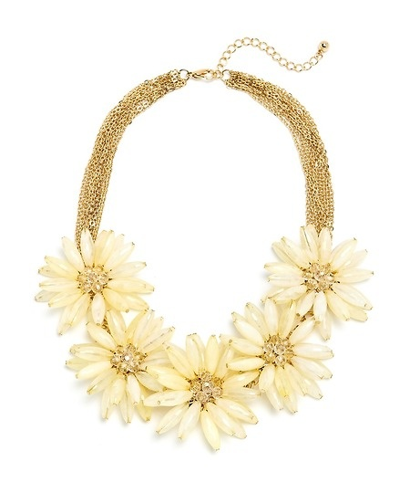 Faceted Jeweled Flower Necklace - Cream  $15: Cream 15, Faceted Jewels, Shops Lists, Beads Flower, Flower Necklaces, Jewels Flower, Beaded Flowers, Products