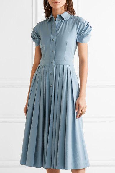 Michael Kors Collection - Pleated Cotton-blend Poplin Midi Dress - Sky blue - US10