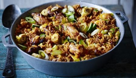 Nasi goreng with lime and sugar barbecued chicken (Rick Stein recipe)