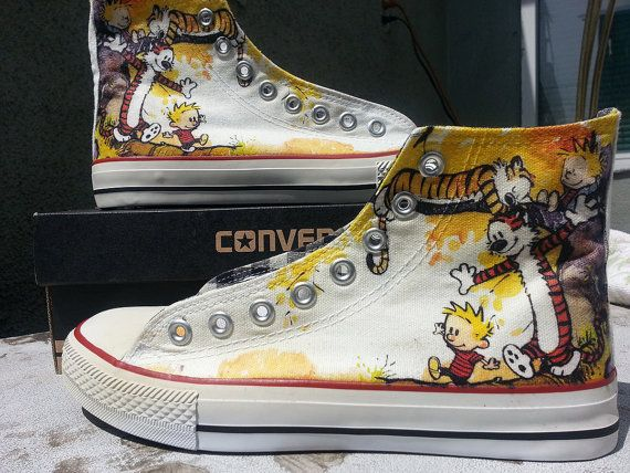 THIS IS AWESOME!!!!!!!!! Size 6.5 women. Calvin and Hobbes Custom Converse All Stars by ArkhamPrints, $89.99