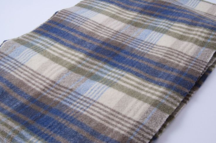 Mulberry tartan / checked scarf in beige blue