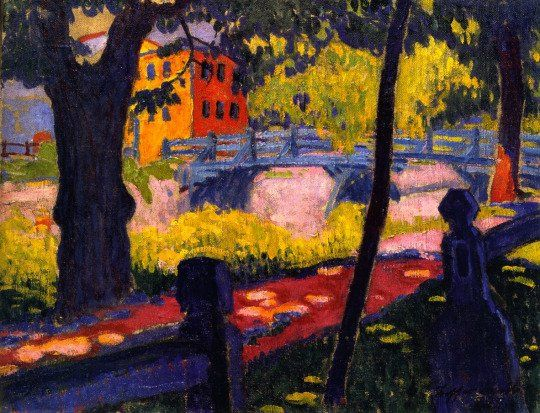 Sándor Ziffer - The Red Gate, c.1908. (Hungarian-expressionism)