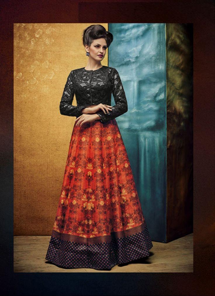 Red nd black gown type designer dress