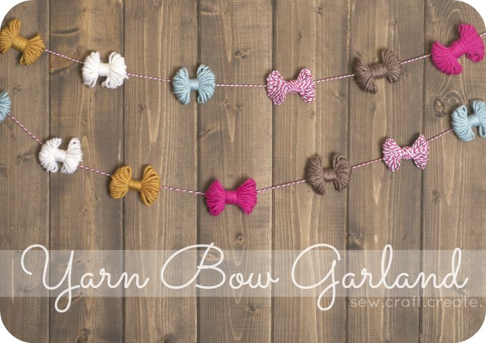 DIY yarn bow garland.
