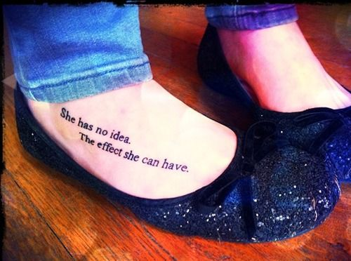 """She has no idea. The effect she can have."" Hunger Games tattoo <3"