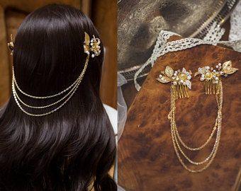 NOUVEAU bijoux G005 cheveux, peigne à cheveux perle, chaîne en or de cheveux, mariée des années 1920, Gatsby le magnifique morceau de cheveux, bandeau de mariage mariée peigne ensemble feuille casque