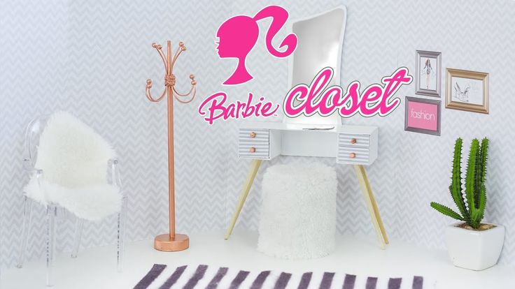 DIY - Closet da Barbie 💗 Miniatura | Penteadeira, Cabideiro e Puff - YouTube