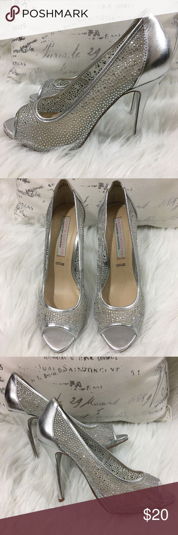 "Chinese Laundry Kristin Cavallari Silver Heels 9 Chinese Laundry Kristin Cavallari Silver Rhinestone Heels  Size 9 Heel height is 4 3/4"" Condition: See Photos Chinese Laundry Shoes Heels"