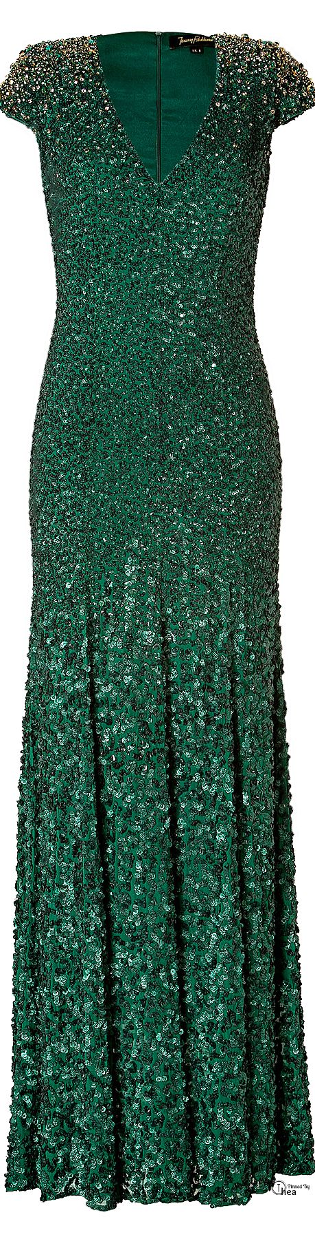 Jenny Packham● Sequined Emerald green silk gown