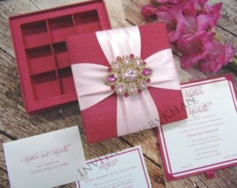 Silk Wedding Invitation Folio Luxury Wedding by InvitationsByKhan