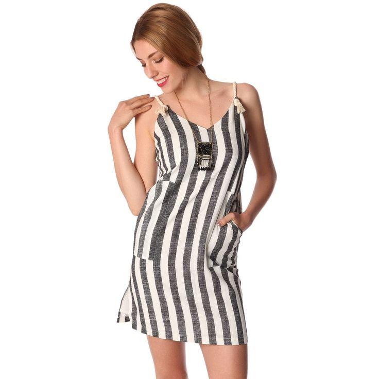 Cream mini dress with vertical stripe detail and rope straps