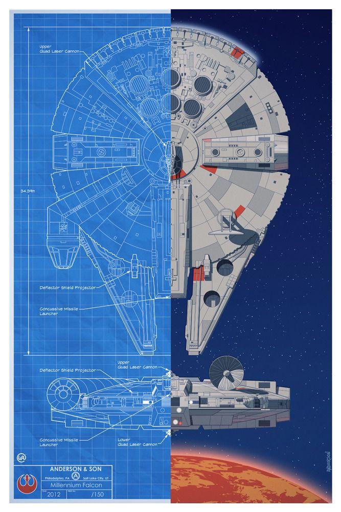 star wars inspired battle of yavin spacecraft blueprint posters. Black Bedroom Furniture Sets. Home Design Ideas