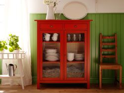 HEMNES red linen cabinet with tempered glass doors and EKBY HEMNES/EKBY STILIG white wall shelves