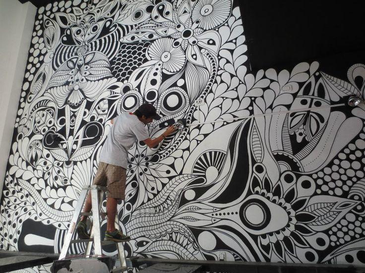 ©MarianoPadilla - Mural - Wall Painting - Uni Posca on 50m² wall -Pancheria Juanchos Castelar