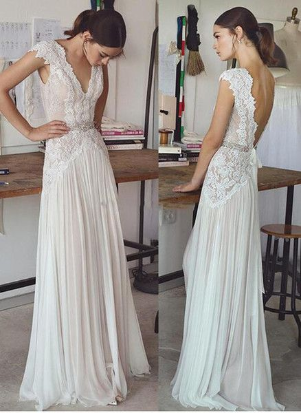 Vintage lace beading bridal gowns 2017 simple A line V neck v backless sweep train wedding gowns