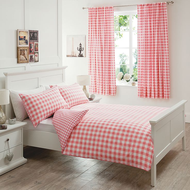 George Home Peachy Gingham Duvet Set Single Bedding Asda Direct Housey Objects