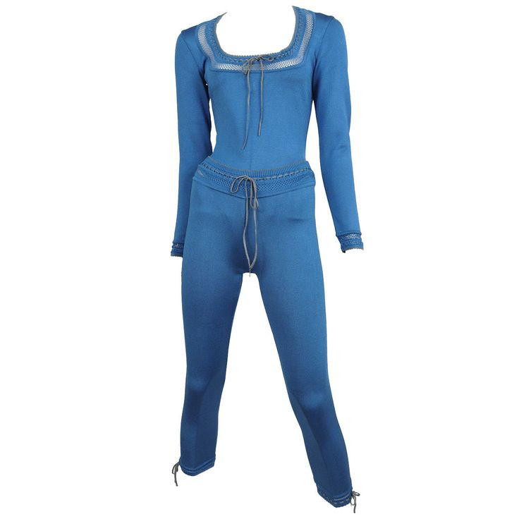 Alaia Blue Bodysuit and Leggings Ensemble | From a collection of rare vintage suits, outfits and ensembles at https://www.1stdibs.com/fashion/clothing/suits-outfits-ensembles/