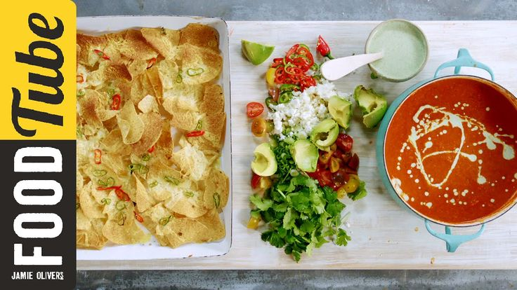 This is a fantastic quick tomato soup recipe simply bursting with the flavours of roasted red peppers, garlic and lime. Rice adds an awesome creaminess to the dish which is topped with a jalapeño and yogurt dressing and served with tortilla crisps, feta cheese, tomatoes and chilli.