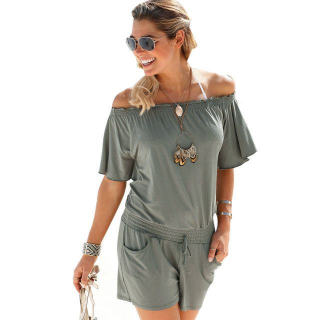 elegant jumpsuit 2017 casual rompers Women overalls summer solid Off shoulder sexy plus size Playsuit Bodycon Clubwear B2
