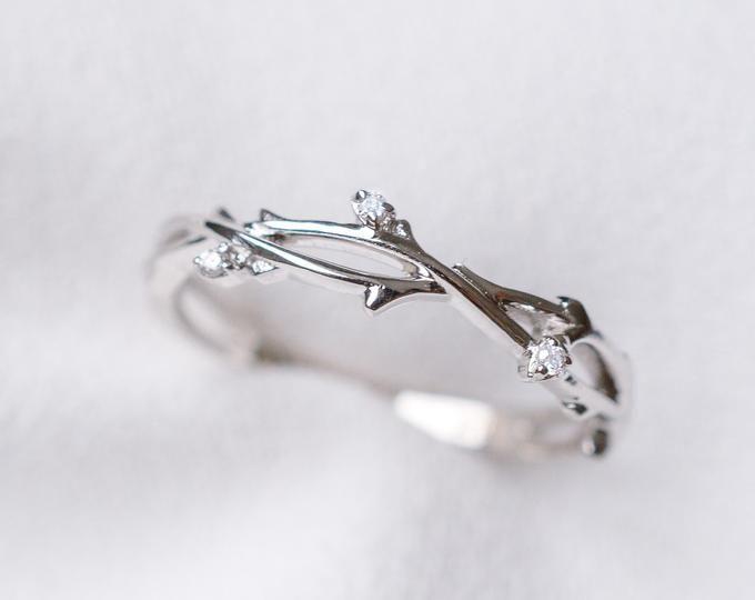 Diamond twig bud ivy ring 14K 18K rose gold leaf wedding band engagement promise ring anniversary flower buds white gold platinum leaf band – Uta Maria