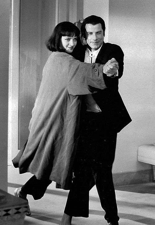 John Travolta and Uma Therman as Vincent Vega and Mia Wallace in Pulp Fiction, 1994. S)