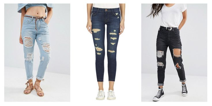 Рваные джинсы, с дырками, расположенными по горизонтали