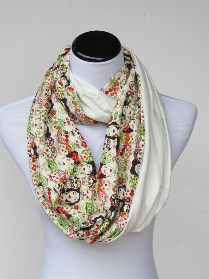 Frida Kahlo scraf, Frida infinity scarf, reversible ivory white skulls Amore scarf, loop scarf, circle scarf, gift for women and teen girls #scarf #infinityscarf #accessory #accessories #FridaKahlo #fridakahloscarf #HappyScarvesByLesya by HappyScarvesByLesya on Etsy