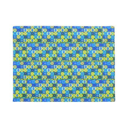 Blue Green Abstract Door Mat - blue gifts style giftidea diy cyo