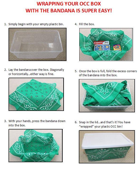WRAP A SHOE BOX WITH BANDANA