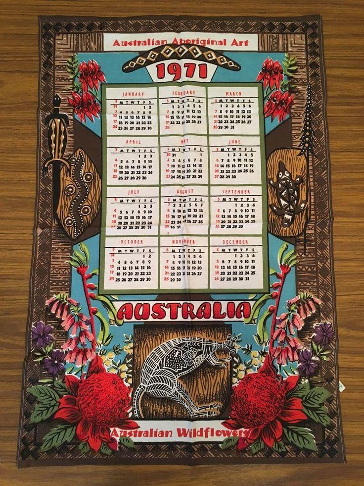 Vintage Tea Towel 1971 Calendar Australian Wild flowers Aboriginal Art Retro  | eBay