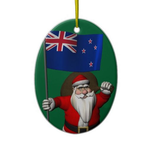 Santa Claus With Flag Of New Zealand Christmas Tree