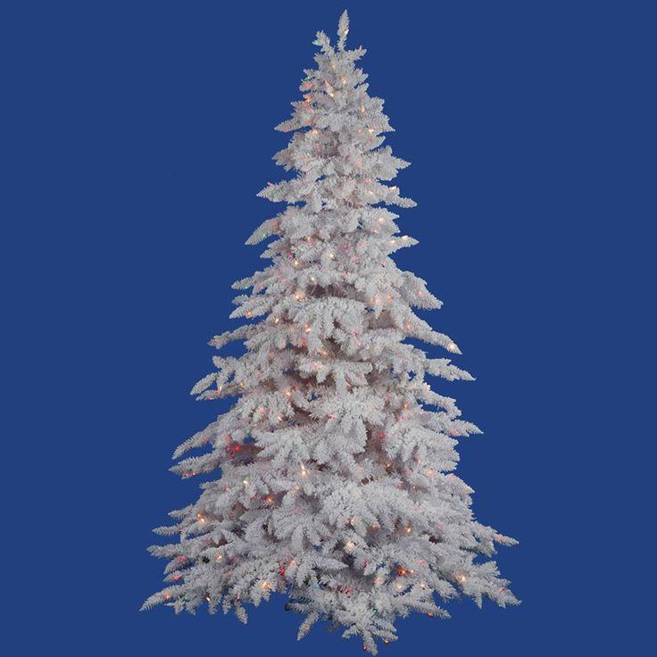 Vickerman Flocked White Spruce Clear Pre-lit LED Christmas Tree - A893676LED