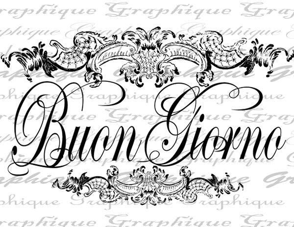 Digital Collage Sheet Italy Italian Buon Giorno Good Day Morning Calligraphy Burlap Digital Download Transfer Pillows Totes Tea Towels 2933. $1.00, via Etsy.