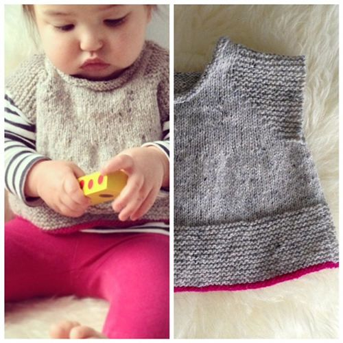January Instagram Challenge Winner (Knitting): Neon-trimmed top for the little ones by Audrey Romano. #instagram #challenge #knitting