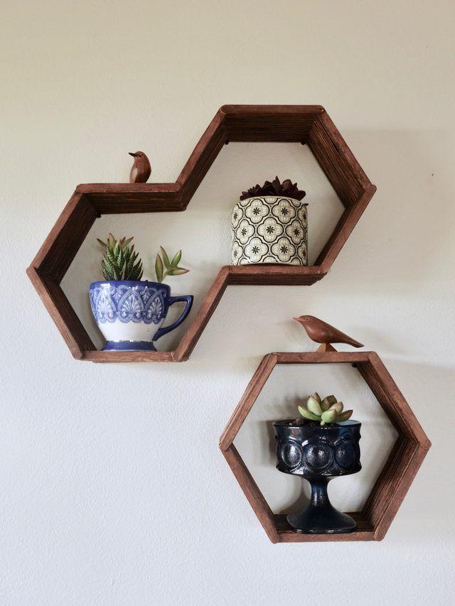 "Hexagon, ""honeycomb"" shelves using popsicle sticks -- I love this easy DIY!"