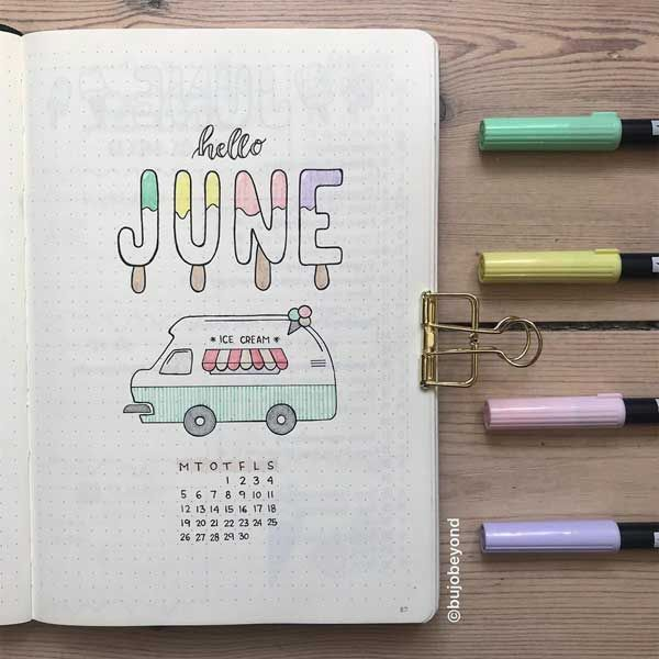 Bullet Journal Titelseite – Juni. #bujo #bulletjournal #bujojunkies #bujolove #bujoideas