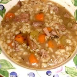 Slow Cooker Beef and Barley Soup  Meaty beef soup bones are combined with vegetables, barley and loads of garlic in this easy-to-prepare soup. Just give it 8 hours to cook in a slow cooker.