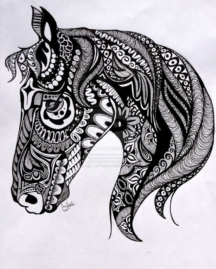 Tangle Horse by ginger--princess on deviantART... would be a fabulous tattoo, but would take ages
