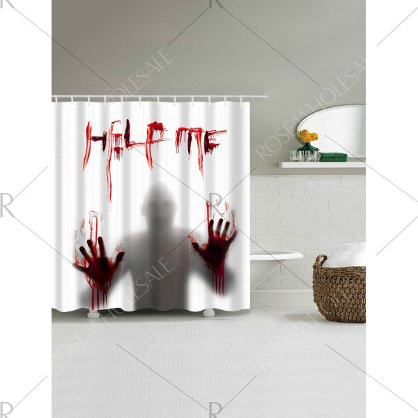 Gothic Help Me Shadow Halloween Shower Curtain - White W71 Inch * L79 Inch Mobile
