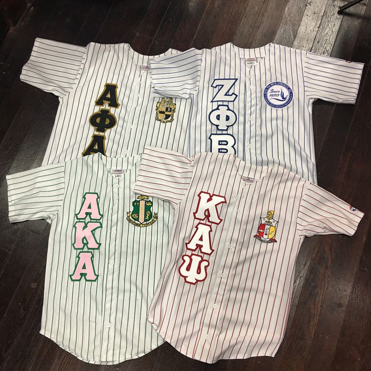Sewn Letter Greek Baseball Jersey T-Shirt alpha kappa delta sigma zeta phi sigma gamma rho phi kappa psi omega beta
