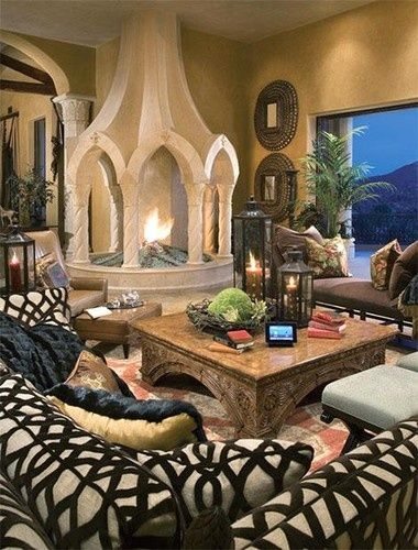 Living room with fireplace mediterranean living room i for Mediterranean fireplace designs