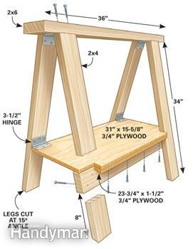 Jeb's sawhorse plan - A folding sawhorse with a built-in shelf. http://www.familyhandyman.com/carpentry/sawhorse-plans/view-all