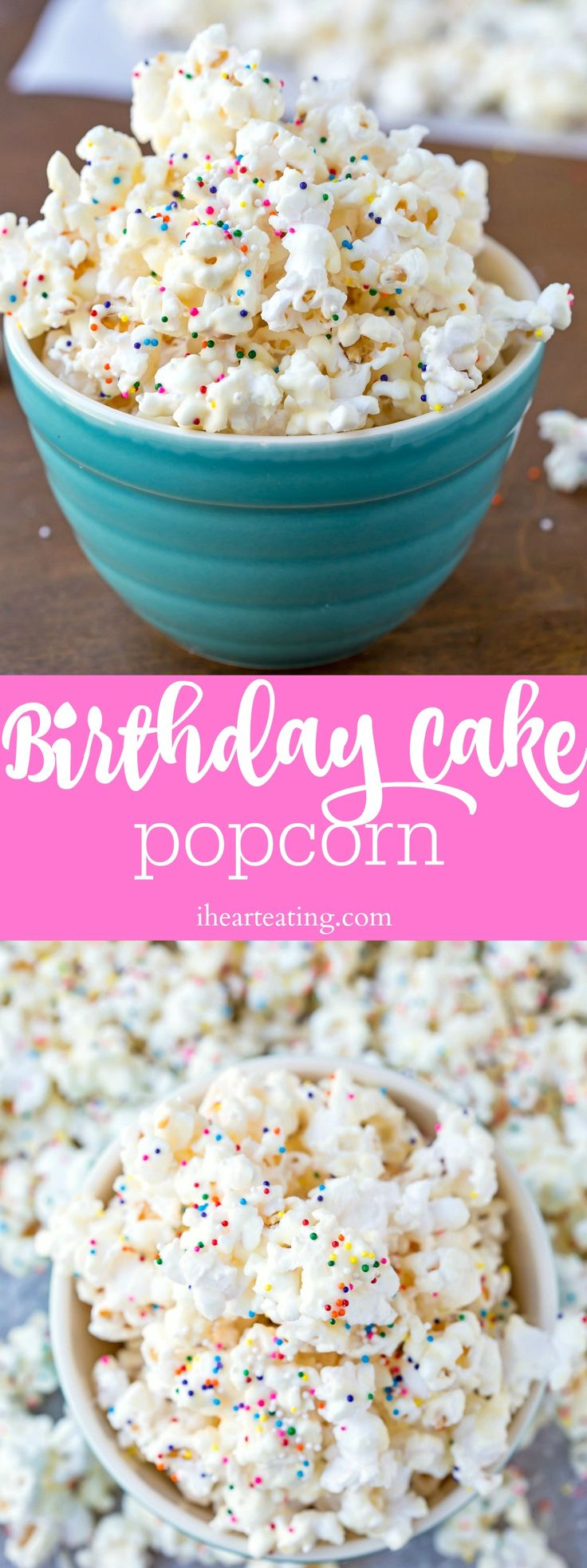 Birthday Cake Popcorn Recipe - easy dessert that's a great party treat idea!