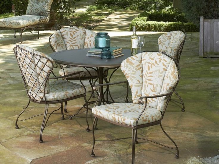 Awesome Wrought Iron Patio Furniture Cushions Decor With Printed Leaf  Pattern With Outdoor Patio Cushions Plus