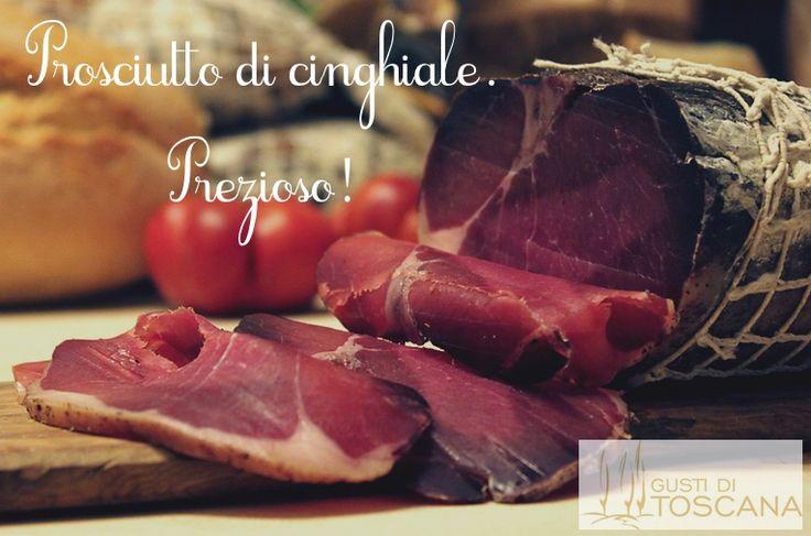 PROSCIUTTO DI #CINGHIALE Gusti di Toscana: morbido e gustoso, privo di grasso, questo #prosciutto si può gustare tagliandolo a fettine molto sottili o tocchetti più corposi,  abbinandolo ad un buon #vino rosso ovviamente toscano, come ad esempio un buon #Chianti. http://bit.ly/1FuO7aF #madeintuscany #food #taste #cibo #carne #qualità