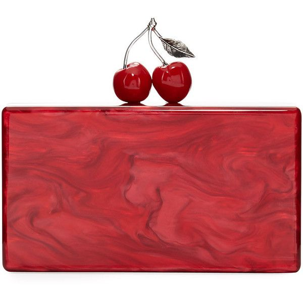 Edie Parker Jean Cherry Resin Hard Clutch Bag ($1,195) ❤ liked on Polyvore featuring bags, handbags, clutches, red, clasp purse, hardcase clutch, red clutches, edie parker and clasp handbag